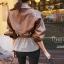 เสื้อเกาหลี พร้อมส่ง เสื้อแจกเกตหนังpuผสมผ้าลาย thumbnail 3