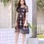 ชุดเดรสเกาหลี พร้อมส่ง Dress ผ้าแก้วปักลูกไม้ลายดอก thumbnail 7