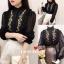 เสื้อเกาหลี แขนยาวคอจีน พร้อมส่ง thumbnail 1