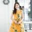 เดรสเกาหลี พร้อมส่ง เดรสสั้น ผ้าไหมลายดอกกุหลาบ thumbnail 3
