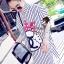 พร้อมส่ง Stripy CC Red dot Bow Print Dress Shirt เดรสเกาหลี thumbnail 2