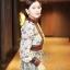 เดรสเกาหลี พร้อมส่ง เดรสยาว ซีทรูปักลายดอกไม้สวย thumbnail 2