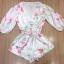 พร้อมส่ง Jumpsuit สั้นสีขาว แต่งลายดอกไม้ thumbnail 11