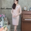 ชุดเดรสเกาหลี พร้อมส่ง เดรสผ้าไหมบนลูกไม้ดิ้นทองคอวี thumbnail 9