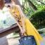 พร้อมส่ง ชุด Maxi Dress สีเหลืองแขนกุด thumbnail 4