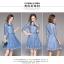เดรสเกาหลี พร้อมส่ง เดรสผ้าลูกไม้เนื้อดี สีฟ้าเข้ม thumbnail 6