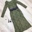 เดรสลูกไม้ พร้อมส่ง Maxi dress ลูกไม้ สีเขียว + เข็มขัดหนัง thumbnail 4