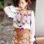 พร้อมส่ง เสื้อคอตตอนปักดอกไม้สีสดใส thumbnail 2