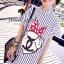 พร้อมส่ง Stripy CC Red dot Bow Print Dress Shirt เดรสเกาหลี thumbnail 1