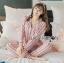 เสื้อผ้าเกาหลี พร้อมส่ง ชุดนอน เชิ้ต และกางเกงลายทาง thumbnail 4