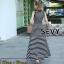พร้อมส่ง Maxi Dress ลายขวางขาวดำ thumbnail 4