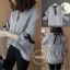 เสื้อเกาหลี พร้อมส่ง เสื้อคอปกผูกโบว์หลัง thumbnail 2