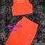 พร้อมส่ง เซทเสื้อ+กระโปรง เสื้อครอปสีส้ม มาพร้อมสร้อยคอ thumbnail 5