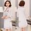 เดรสเกาหลี พร้อมส่ง Mini Dress คอกลม แขน 5 ส่วน thumbnail 3