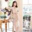 เดรสเกาหลี พร้อมส่ง เดรสทอลายดอกไม้ แต่งขนนก thumbnail 2