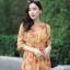 เดรสเกาหลี พร้อมส่ง แม็กซี่ยาว ลายดอกชบา ผ้าชีฟอง thumbnail 12