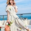เดรสเกาหลี สีขาวทรงเปิดไหล่ปักดอกไม้ พร้อมส่ง thumbnail 3