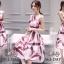 เดรสเกาหลี พร้อมส่ง เดรสลายโทนสีม่วงเม็ดมะปราง thumbnail 1