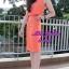 พร้อมส่ง เซทเสื้อ+กระโปรง เสื้อครอปสีส้ม มาพร้อมสร้อยคอ thumbnail 4