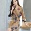 เดรสเกาหลี พร้อมส่ง เดรส ทรงคอvป้าย ลายผีเสื้อ ดอกไม้ thumbnail 5