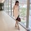 ชุดเดรสเกาหลี พร้อมส่ง Dress แขนกุด อกต่อผ้าซีทรู thumbnail 3