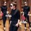 เสื้อผ้าเกาหลี พร้อมส่ง เสื้อคอจีนกับกางเกงเอวสม็อค thumbnail 5