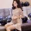 พร้อมส่ง ชุดMini Dress แขนยาวสีทอง thumbnail 2