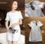 ชุดเดรสเกาหลี พร้อมส่ง เดรสผ้าทวีตสีขาวตกแต่งมุก thumbnail 9