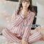 เสื้อผ้าเกาหลี พร้อมส่ง ชุดนอน เชิ้ต และกางเกงลายทาง thumbnail 8