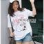 เสื้อเกาหลี พร้อมส่ง ทีเชิ้ตสีขาวปักดอกไม้ thumbnail 3