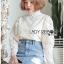 เสื้อเกาหลี ผ้าลูกไม้ลายซิกแซก พร้อมส่ง thumbnail 10