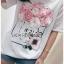 เสื้อเกาหลี พร้อมส่ง ทีเชิ้ตสีขาวปักดอกไม้ thumbnail 5
