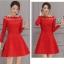 เดรสเกาหลี พร้อมส่ง เดรสสีแดง แขนยาวห้าส่วน thumbnail 4