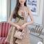 เดรสเกาหลี พร้อมส่ง เดรสผ้าทวีส ผ้าทอลายเนื้อชาแนล thumbnail 3
