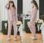 เสื้อผ้าเกาหลี พร้อมส่ง ชุดนอน เชิ้ต และกางเกงลายทาง thumbnail 10