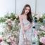 พร้อมส่ง เดรสปักดอกไม้สีขาวสลับเลื่อมทอง thumbnail 2