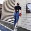 เสื้อผ้าเกาหลี พร้อมส่ง เสื้อกับกางเกงยีนส์ขากระบอก thumbnail 4