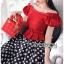 เสื้อผ้าเกาหลี พร้อมส่ง เสื้อคร็อปสีแดงและกระโปรงลายจุด thumbnail 4