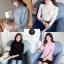 เสื้อเกาหลี พร้อมส่ง เสื้อไหมพรมแขนยาว คอเต่าพับ thumbnail 2