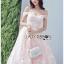 เดรสเกาหลี พร้อมส่ง เดรสผ้าทูลเลปักลายดอกไม้ thumbnail 4
