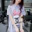 พร้อมส่ง Stripy CC Red dot Bow Print Dress Shirt เดรสเกาหลี thumbnail 6
