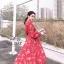 ชุดเดรสเกาหลี พร้อมส่ง เดรส มีน้ำหนักทิ้งตัวลายดอกไม้ thumbnail 6