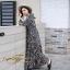 ชุดเดรสเกาหลี พร้อมส่ง Maxi Dress ทรงบาน คอวีป้ายอก thumbnail 6