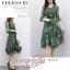 พร้อมส่ง Dress คอวี เนื้อผ้าไหมญี่ปุ่นลายดาว thumbnail 2