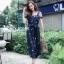 ชุดเดรสเกาหลี พร้อมส่ง dress ปักลายดอกไม้ thumbnail 1