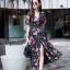 ชุดเดรสเกาหลี พร้อมส่ง Maxi Dress ผ้าชีฟอง ลายดอก thumbnail 1