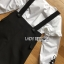 เดรสเกาหลี พร้อมส่ง เอี๊ยม เดรสผ้าเครปสีดำทับเสื้อคอตตอน thumbnail 11
