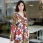 ชุดเดรสเกาหลี พร้อมส่ง เดรสลายดอก คอวี ผ้าพริ้ว thumbnail 12