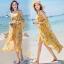 ชุดเดรสเกาหลี พร้อมส่ง เดรสผ้าชีฟอง พิมพ์ลายดอกไม้สีเหลือง thumbnail 3