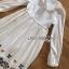 ชุดเดรสเกาหลี พร้อมส่ง เดรสยาว ผ้าคอตตอน ปักลายดอกไม้ thumbnail 10